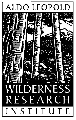 Aldo Leopold Wilderness Research Institute black and white logo with trees and a mountain background